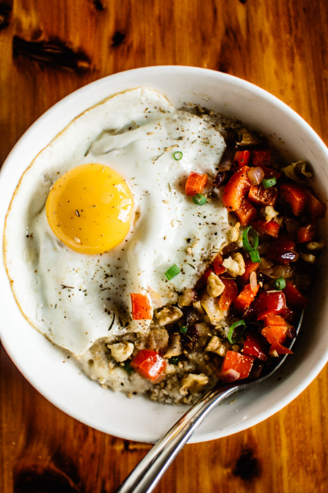 Savory Oatmeal with Cheddar and Fried Egg | Healthy Nibbles