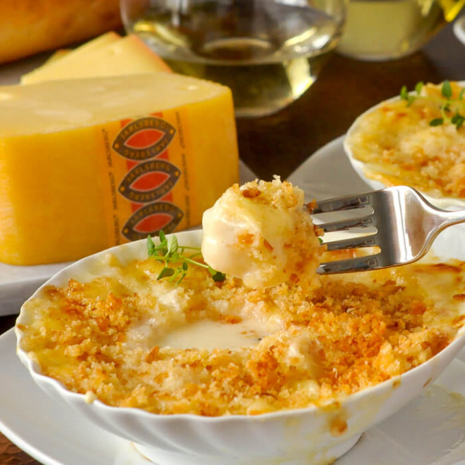 Scallops au Gratin with Jarlsberg Cheese. A delicious ...