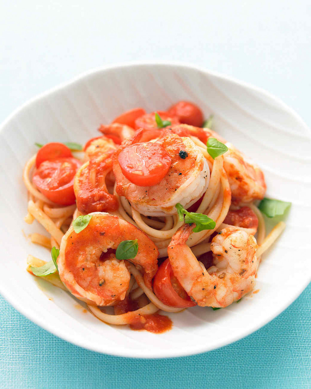 Shrimp, Tomato, and Basil Pasta