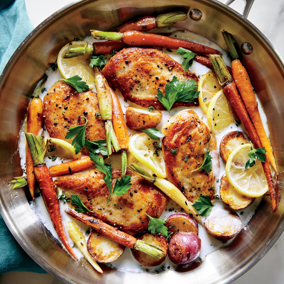 Skillet Chicken with Roasted Potatoes & Carrots Recipe ...