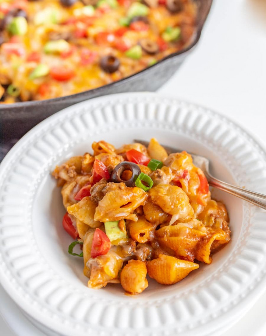 Skillet Taco Pasta made with ground beef — Bless this Mess