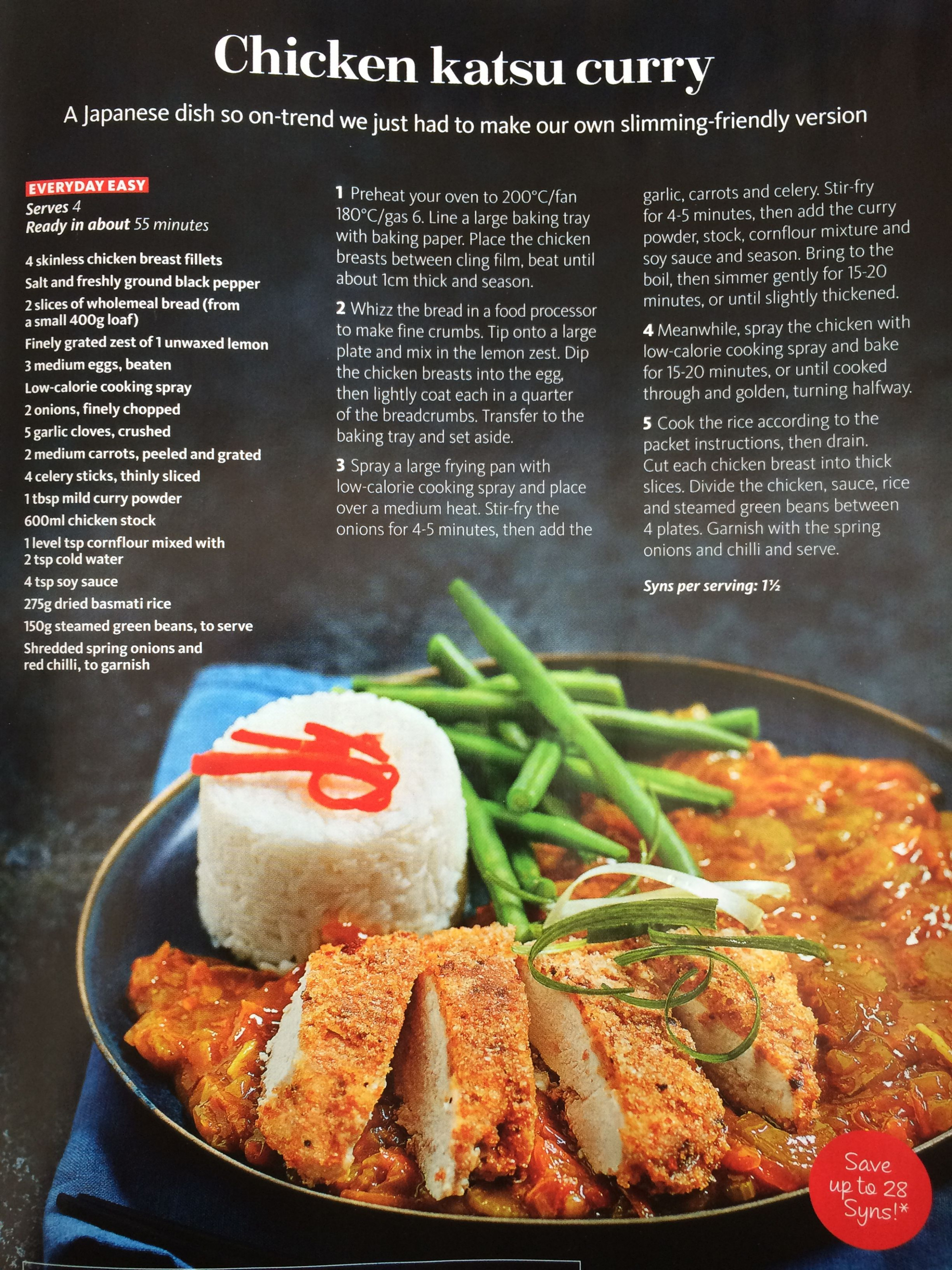 Slimming world Katsu curry - 1.5syns per serving, serves 4 ...