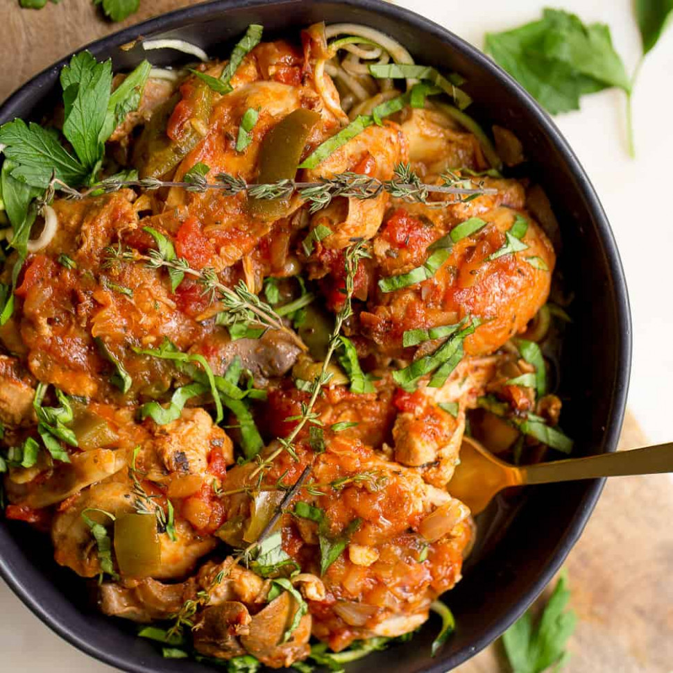 Slow Cooker or Instant Pot Chicken Cacciatore - Wholesomelicious