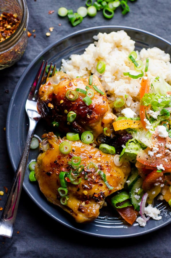 Slow Cooker Thai Chicken Thighs - iFOODreal - Healthy ...