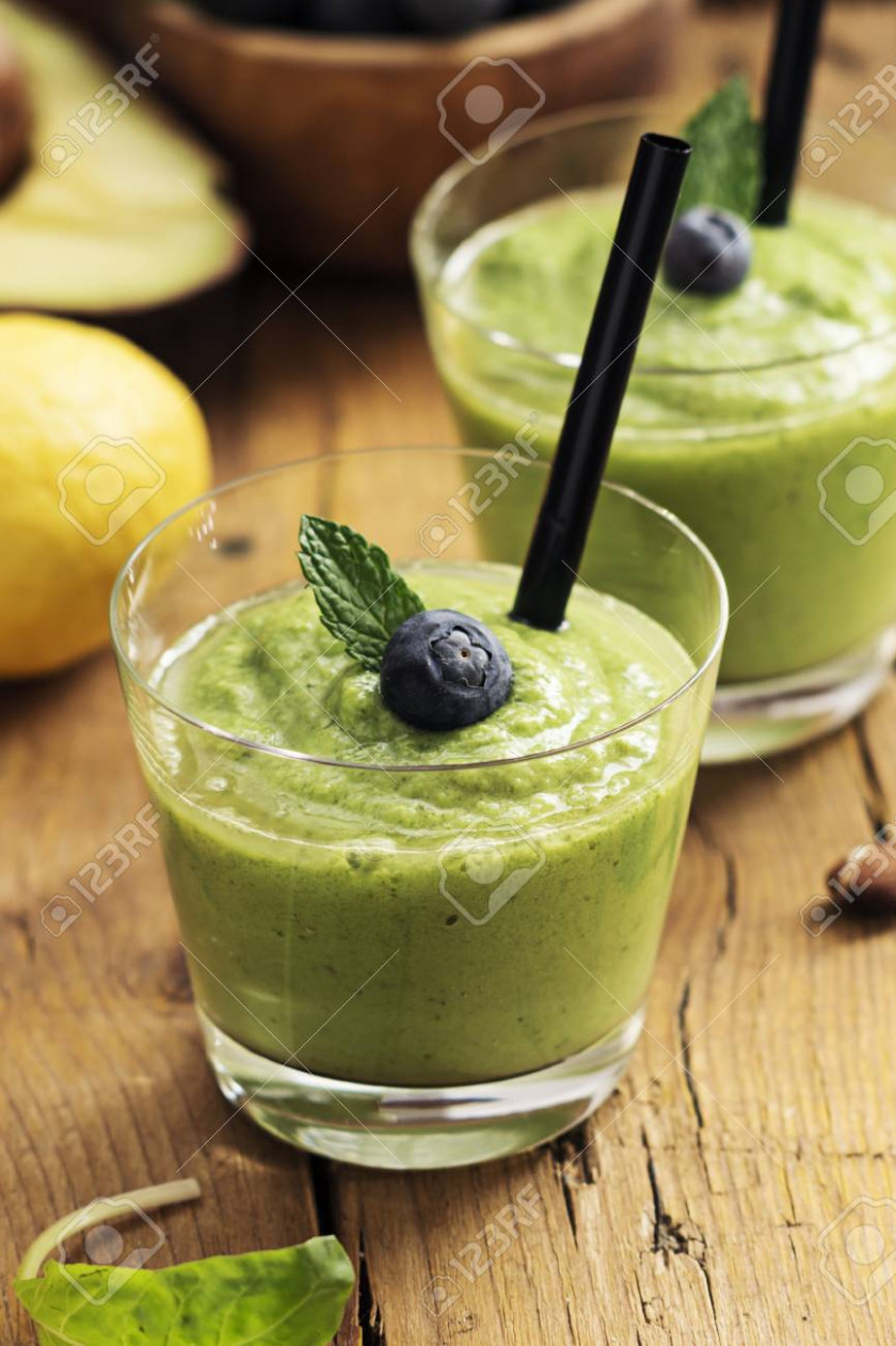 Smoothie Recipe With Green Spinach, Almond On Wooden Board…