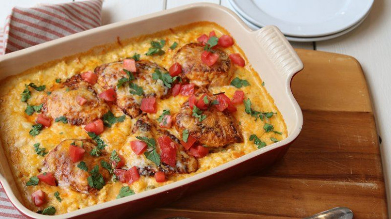 Smothered Chicken Queso Casserole recipe from Betty Crocker