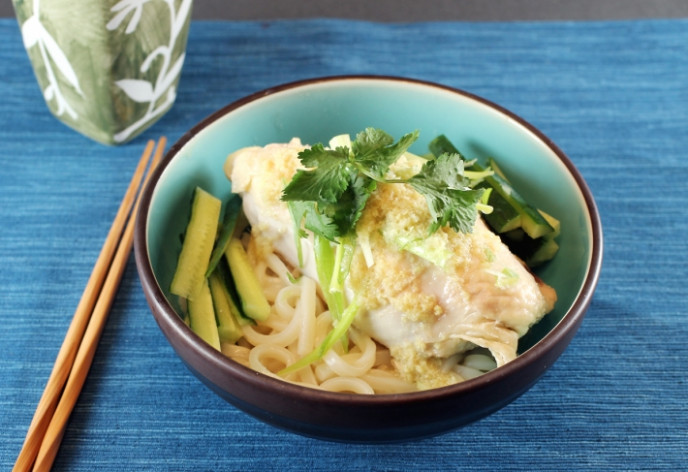 Sous Vide Ginger-Scallion Chicken with Udon Noodles