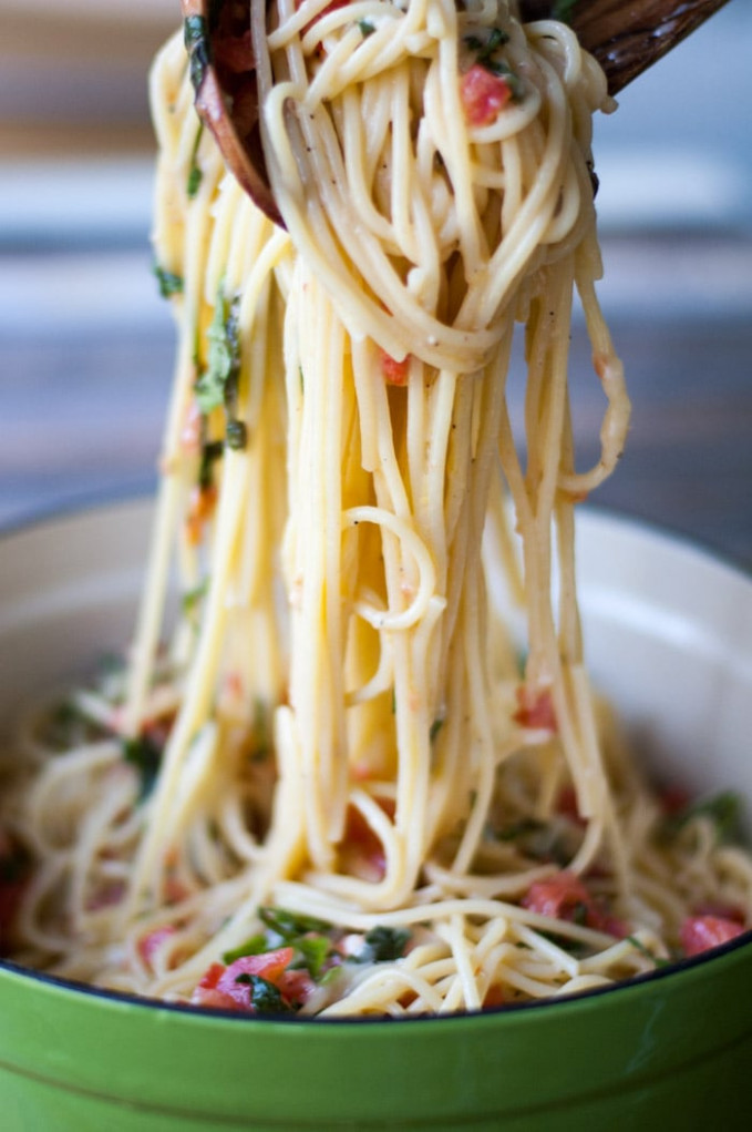 Spaghetti with Brie, Tomato, and Basil - A yummy brie recipe