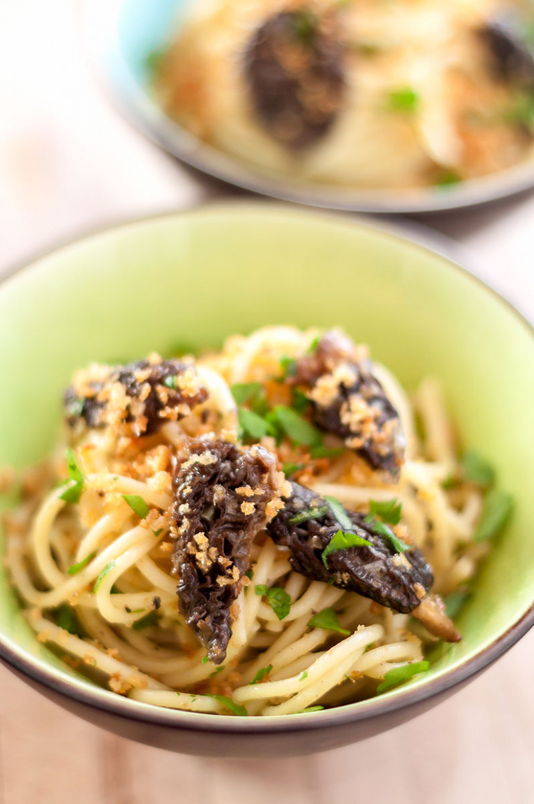 Spaghetti With Ramp Butter And Morel Mushrooms