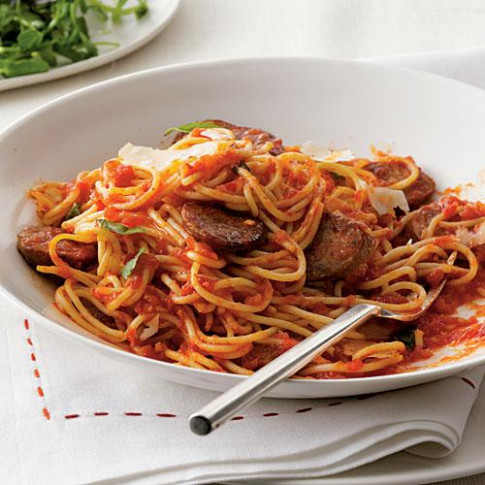 Spaghetti with Sausage and Simple Tomato Sauce - Dinner ...