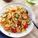 Spaghetti With Shrimp Artichokes And Feta 3