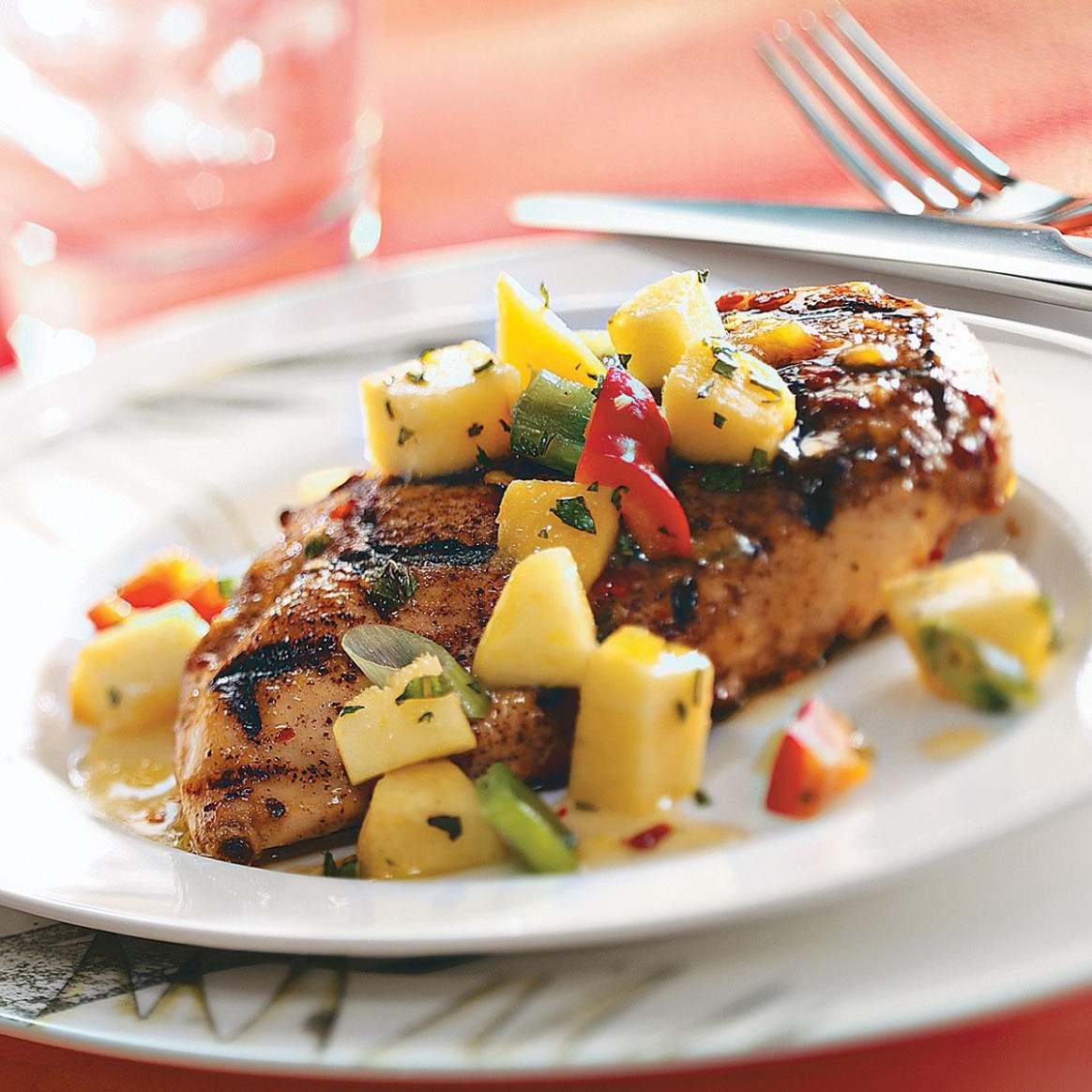 Spicy Chicken Breasts with Pepper Peach Relish Recipe ...