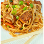 Spicy Marinated And Baked Tofu Noodles