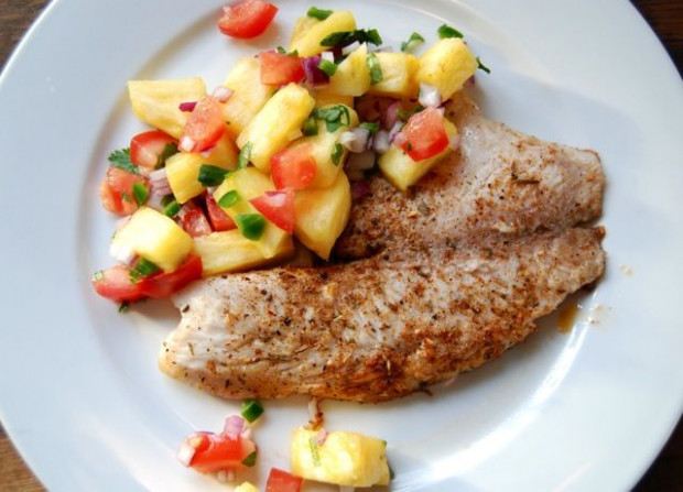 Spicy tilapia with pineapple pepper relish. This site has ...