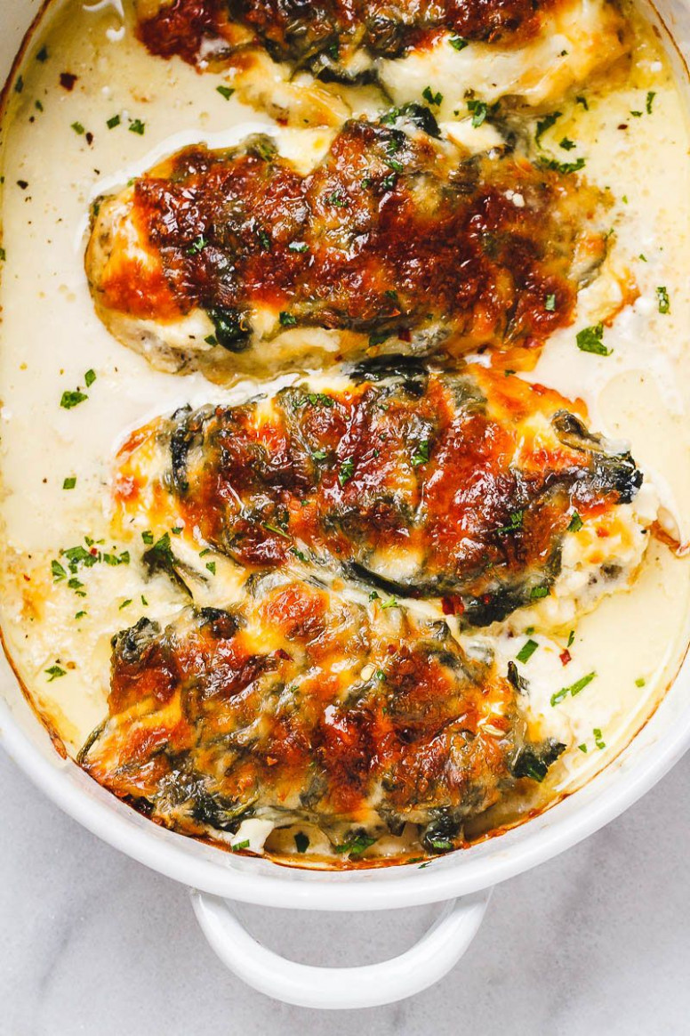 Spinach Chicken Casserole With Cream Cheese And Mozzarella …