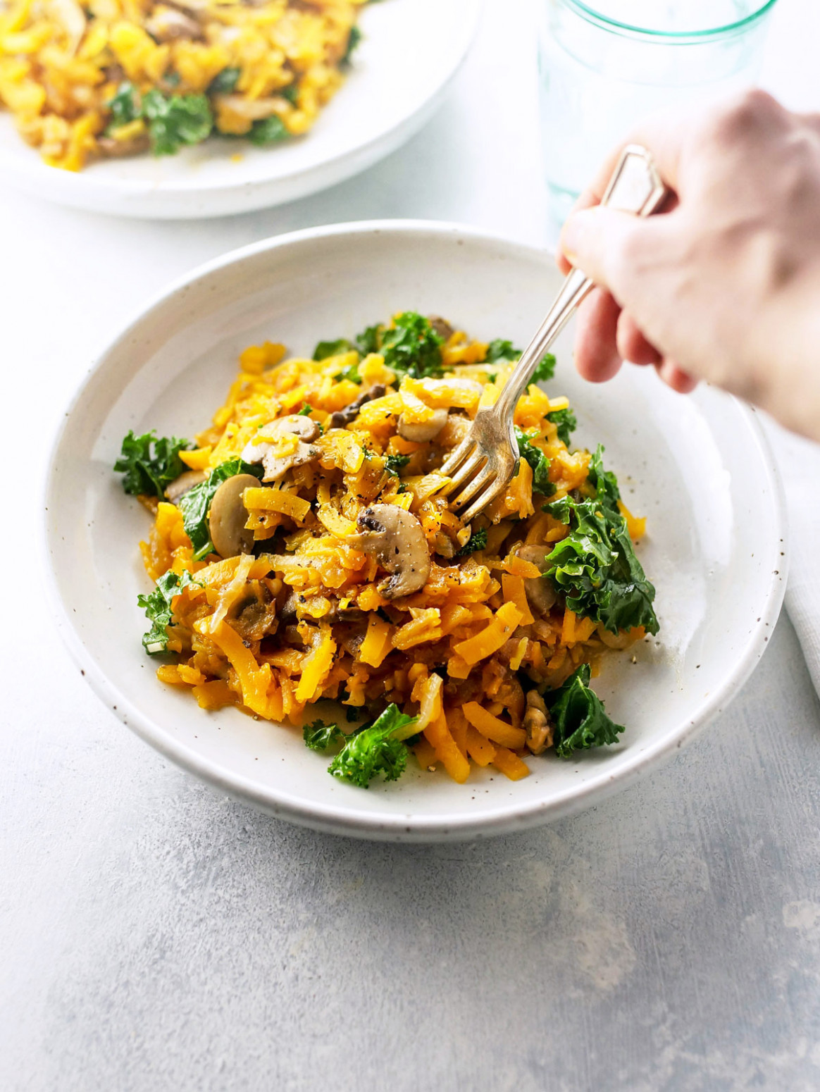 "Spiralized Butternut ""Pasta"" with Mushrooms & Sage"