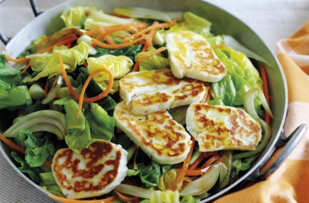 Spring vegetables and couscous with halloumi recipe ...