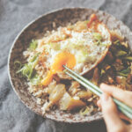 Stir Fried Lettuce Bowl With Ginger Fried Rice And Fried Egg