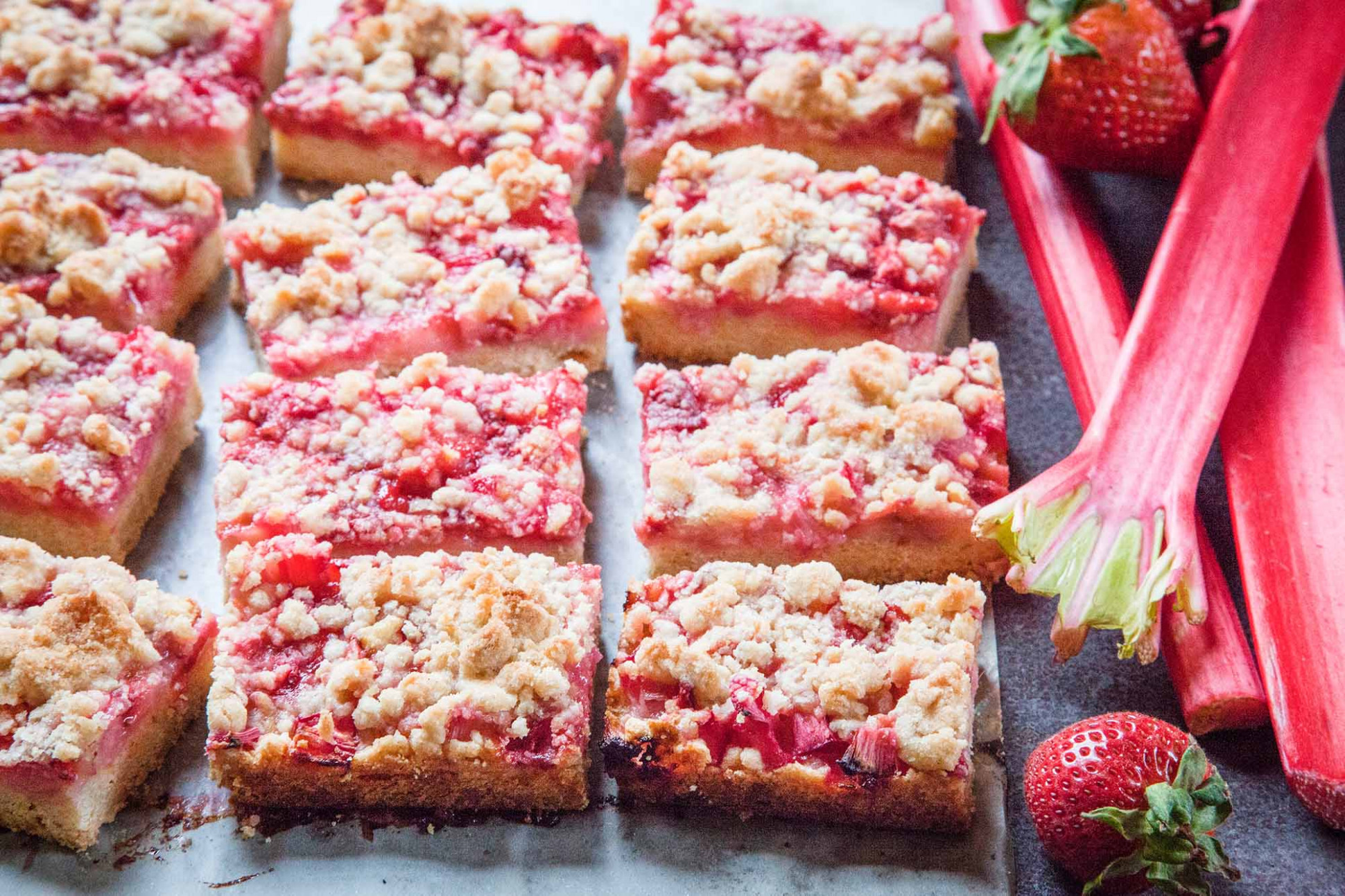 Strawberry-Rhubarb Crumble Bars Recipe | SimplyRecipes.com