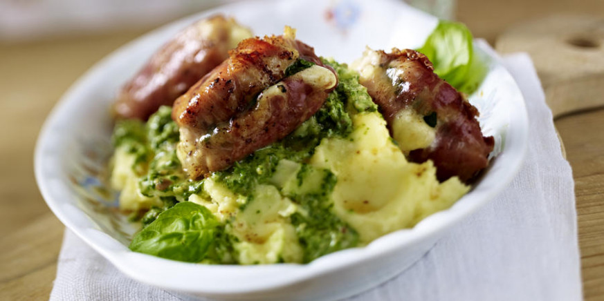 Stuffed Chicken and Parma Ham Rolls with Mash and Herb ...