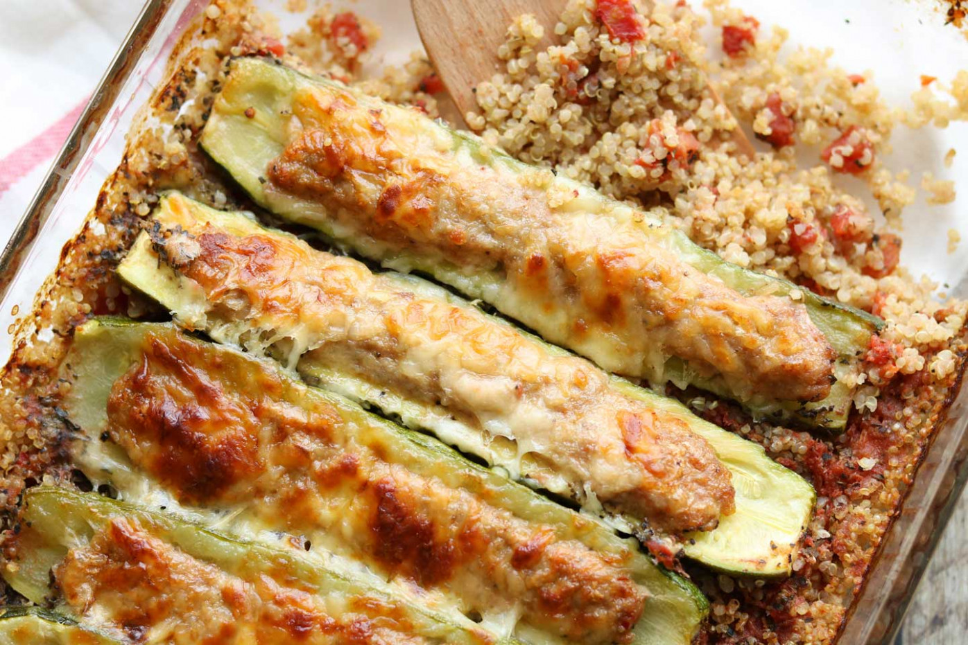 Stuffed Zucchini Boats Casserole with Italian Sausage and ...