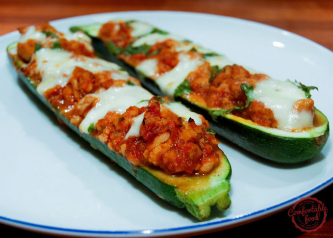Stuffed Zucchini Boats with Chicken and Mozzarella ...