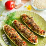 Stuffed Zucchini Boats With Garlic Sauce – Delicious Meets …