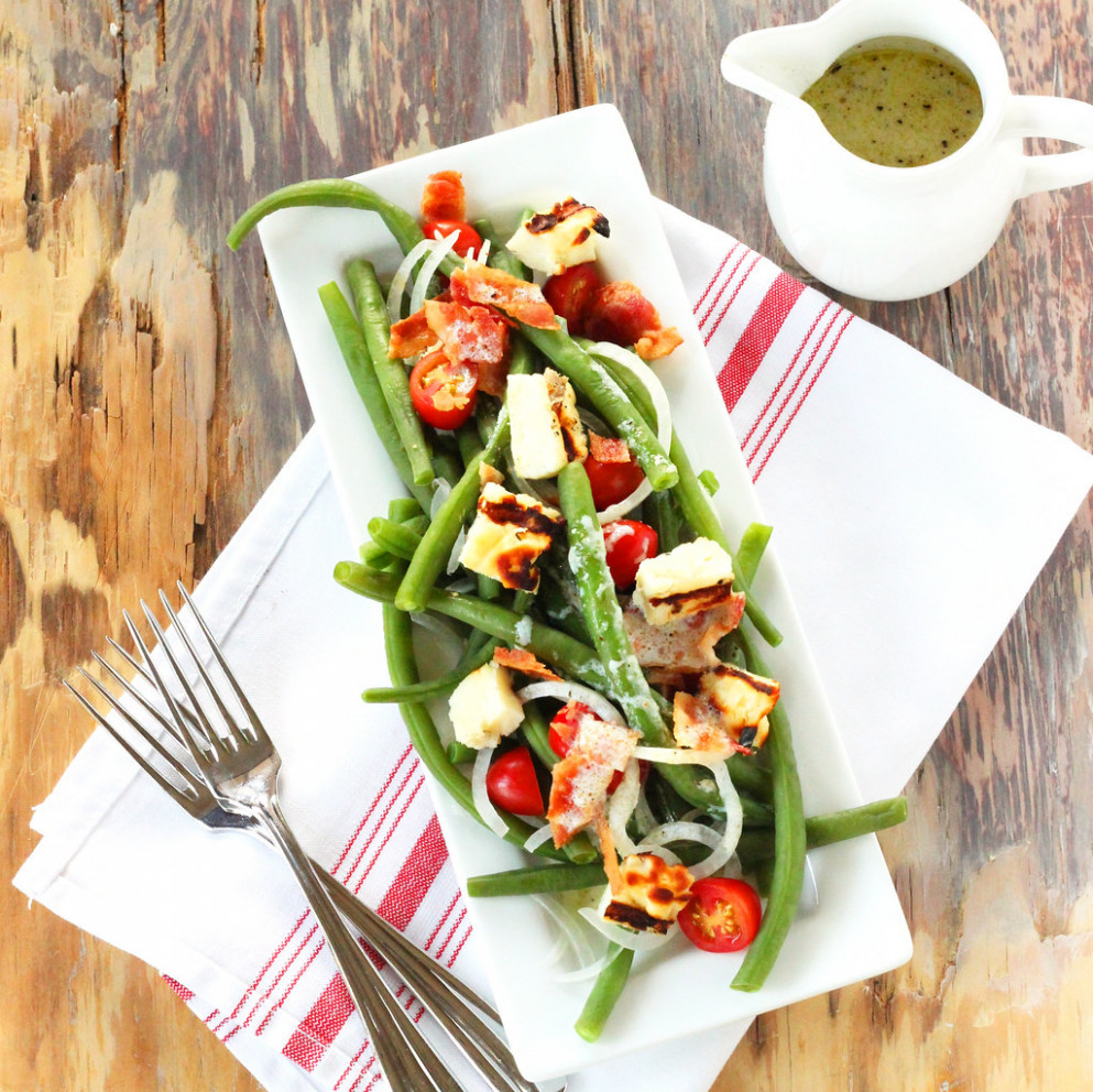 Summer Green Bean Salad with Grilled Halloumi