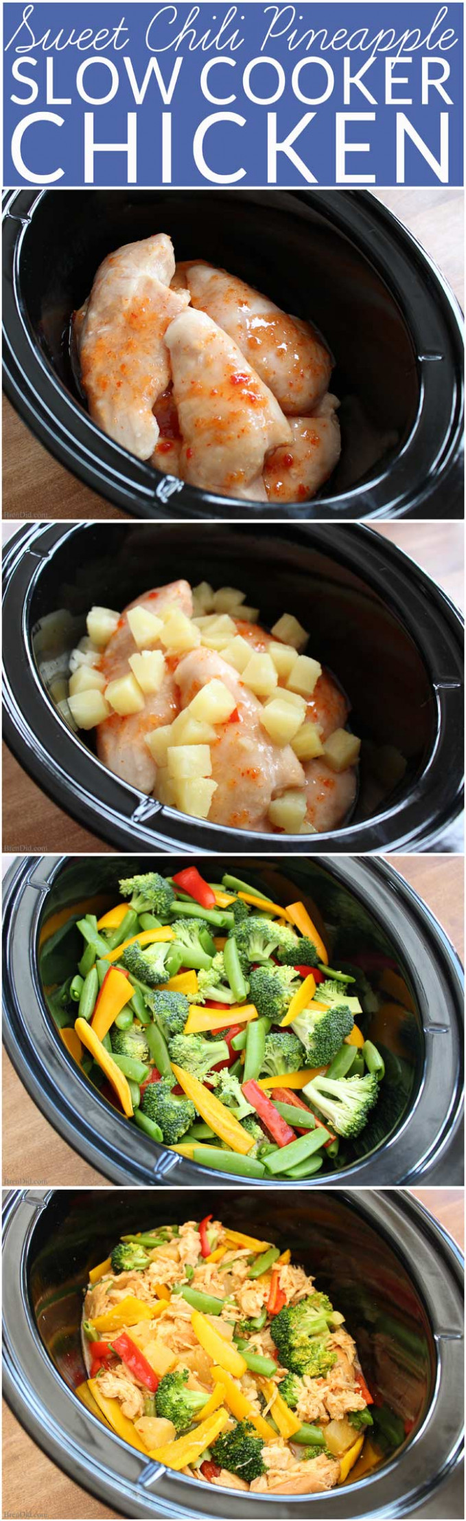 Sweet Chili Pineapple Chicken Easy Crockpot Recipe - Bren Did