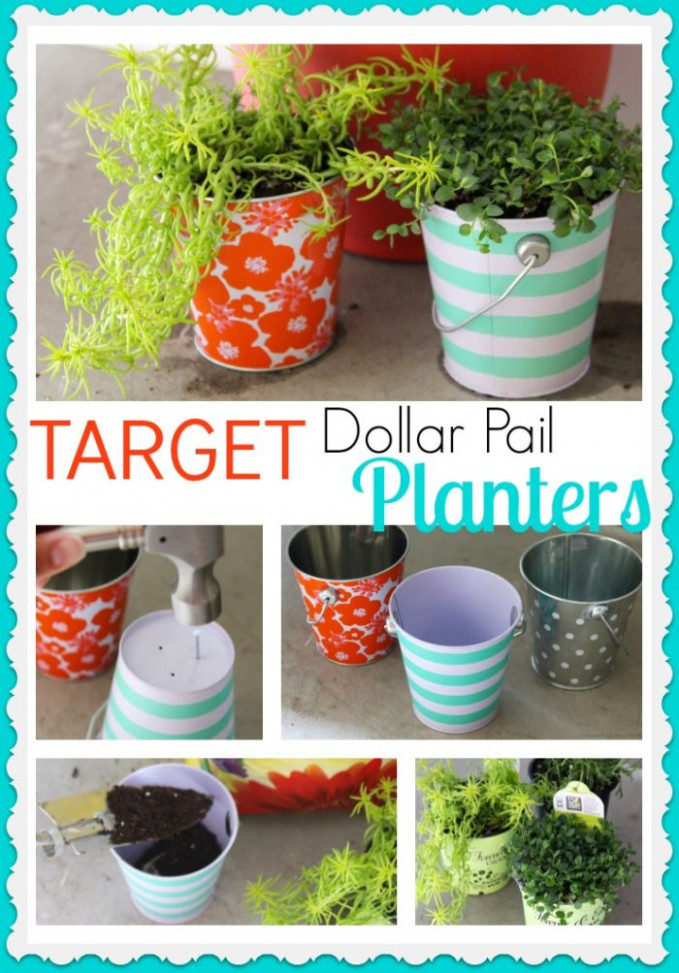 Target Dollar Pail Planters - Cooking With Ruthie