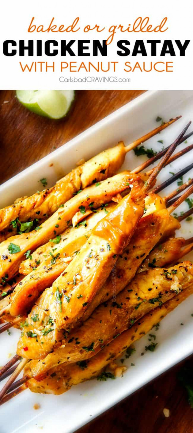 Thai Chicken Satay with Peanut Sauce (baked or grilled!)