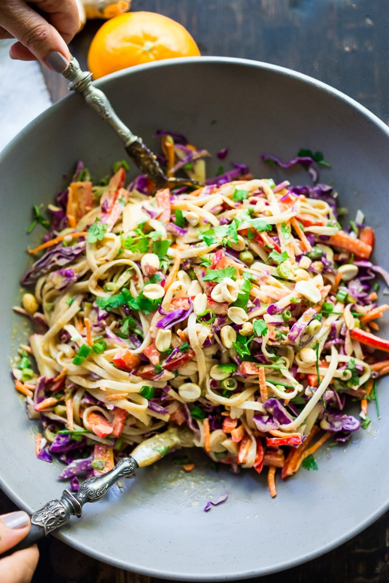 Thai Noodle Salad with the BEST EVER Peanut Sauce | Feasting ...