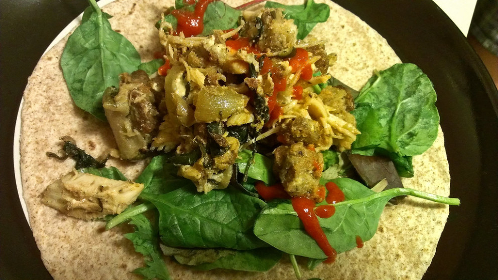 Thanksgiving Leftover Wrap with Turkey, Stuffing, Spinach Salad and Sriracha
