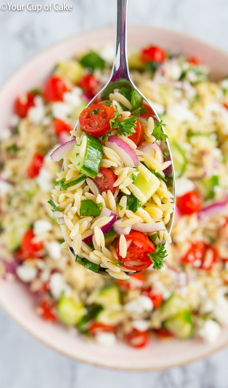 The BEST Orzo Pasta Salad - Your Cup of Cake