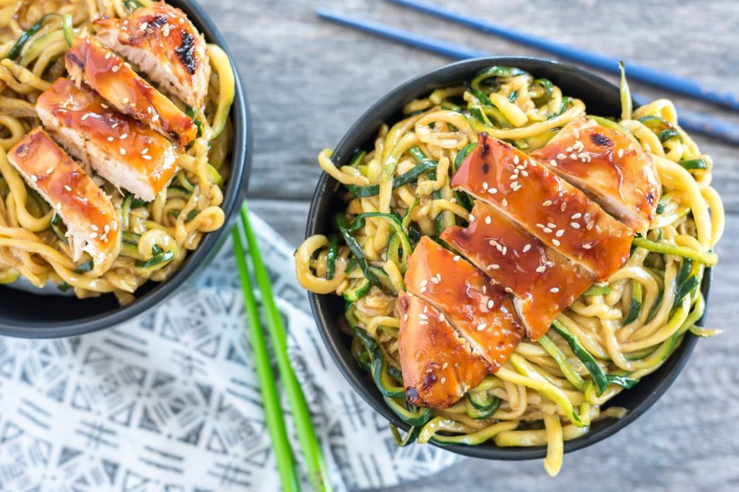 The Best Teriyaki Chicken Zoodle Bowls - Almost Supermom