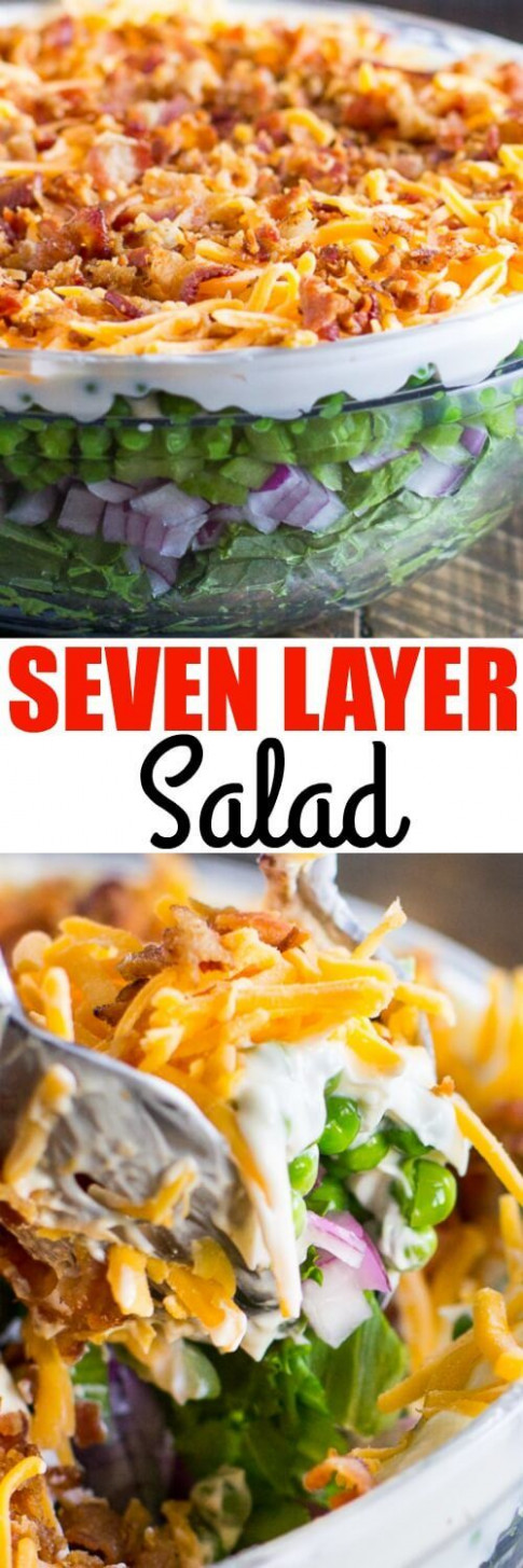 This easy Seven Layer Salad recipe is a classic Midwestern ...