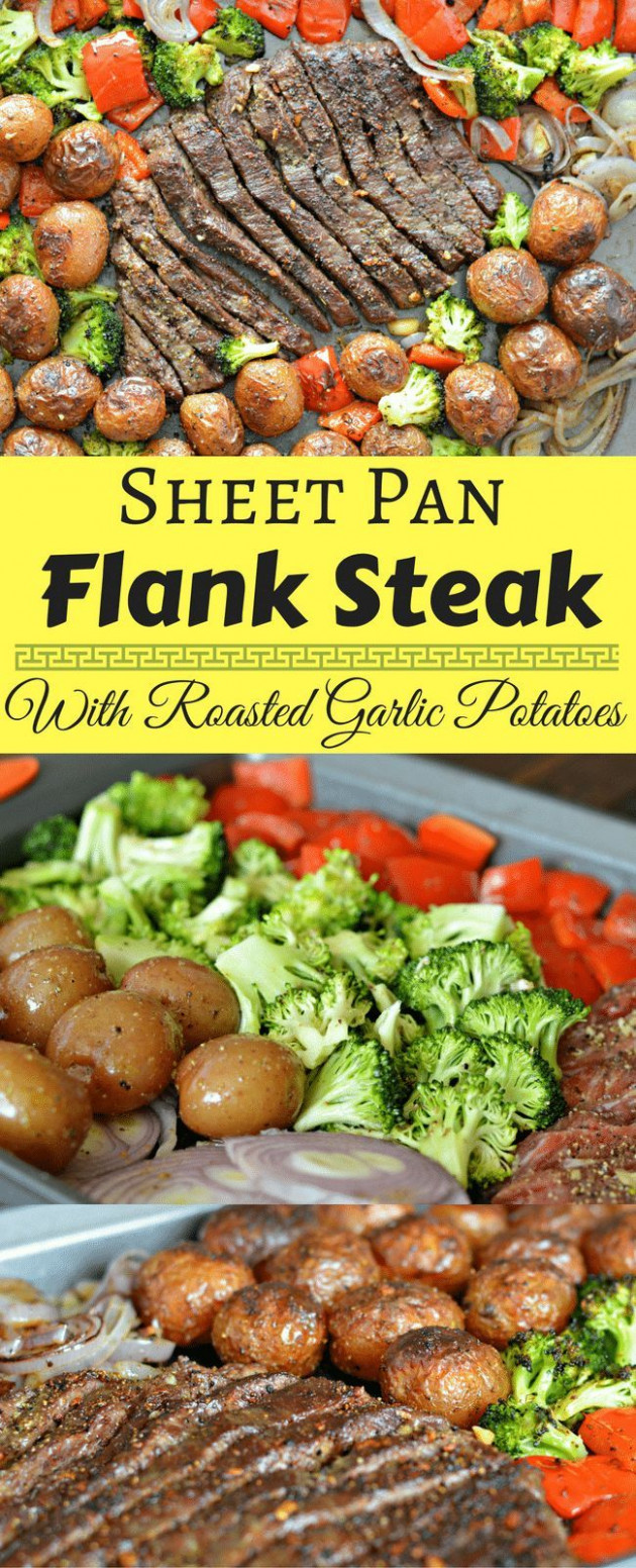 This Sheet Pan Flank Steak with Garlic Roasted Potatoes is ...
