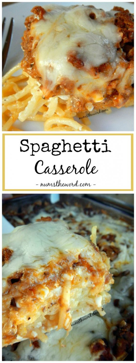 This spaghetti casserole is an easy weeknight dish that ...