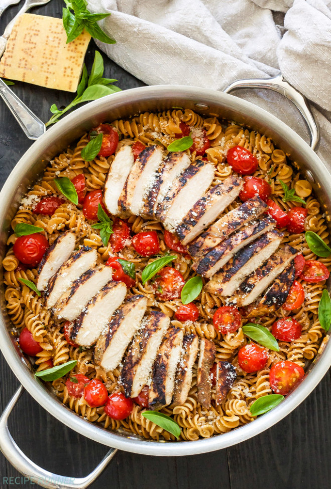 Tomato Basil Pasta with Balsamic Grilled Chicken - Recipe ...