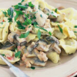 Tortellini With Creamy Mushroom And Bacon Sauce