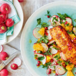 Trout With Radish, Orange And Pomegranate Salad