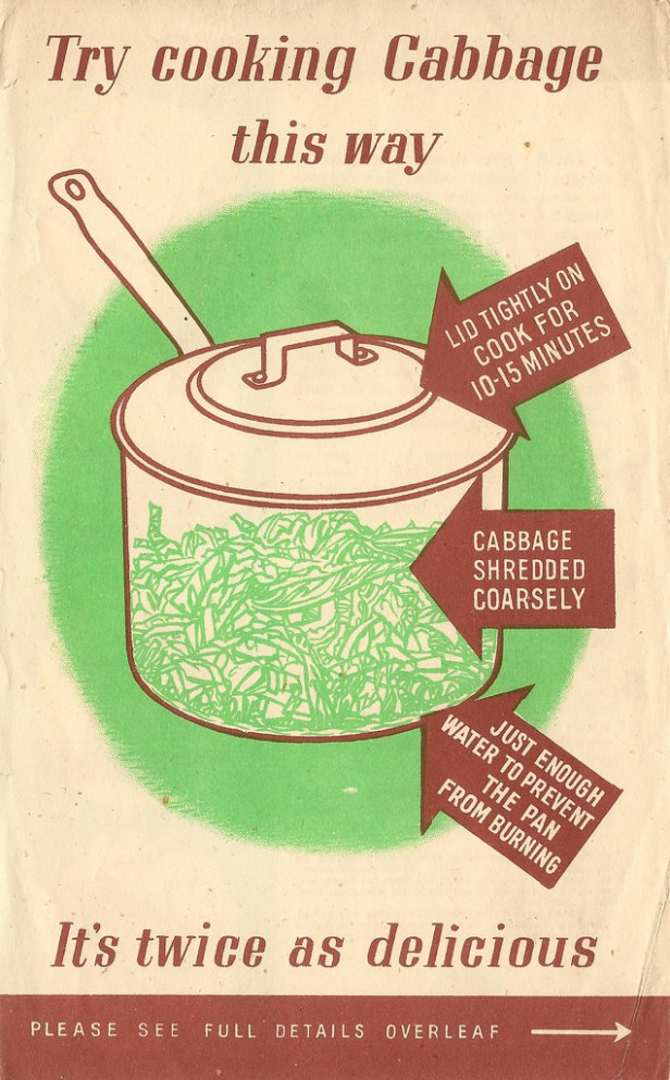 """Try cooking cabbage this way"" - WW2 UK Ministry of Food leaflet, 1944"