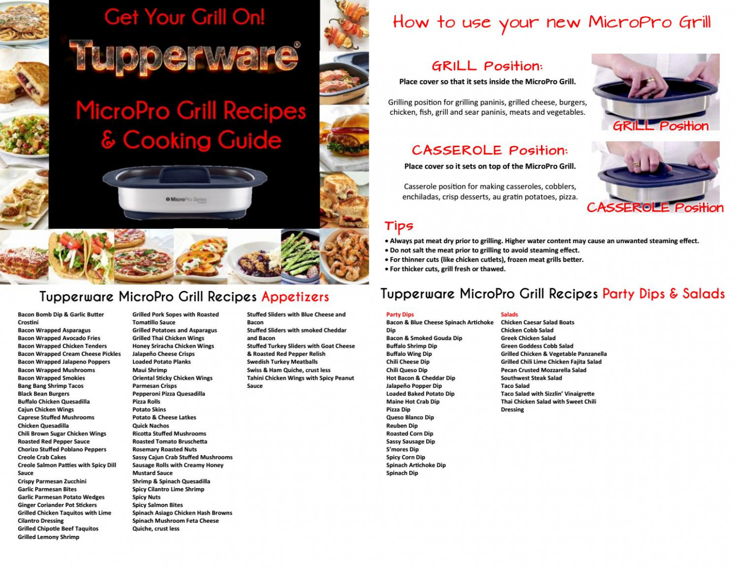 Tupperware Micropro grill recipes and cooking guide 12 by ...
