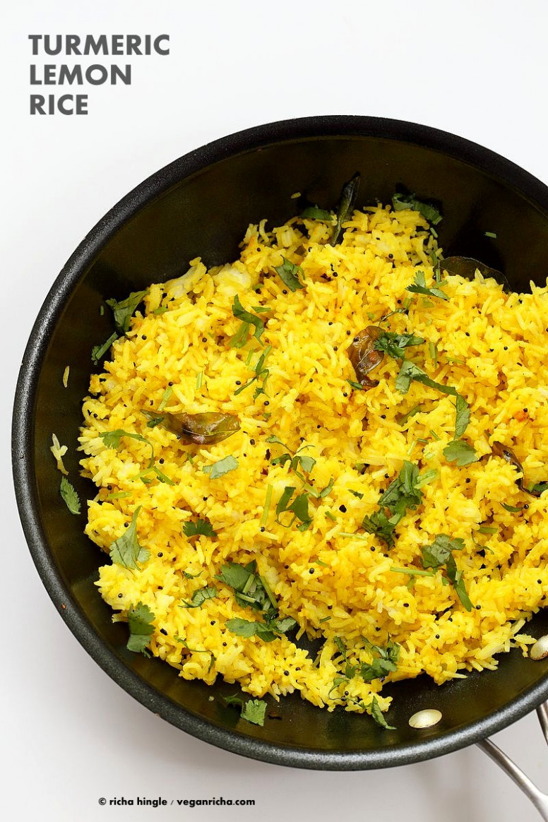 Turmeric Lemon Rice Recipe - 10 Minutes - Vegan Richa