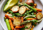 Vegan Sheet Pan Dinner | Herbed Potato, Asparagus & Chickpeas