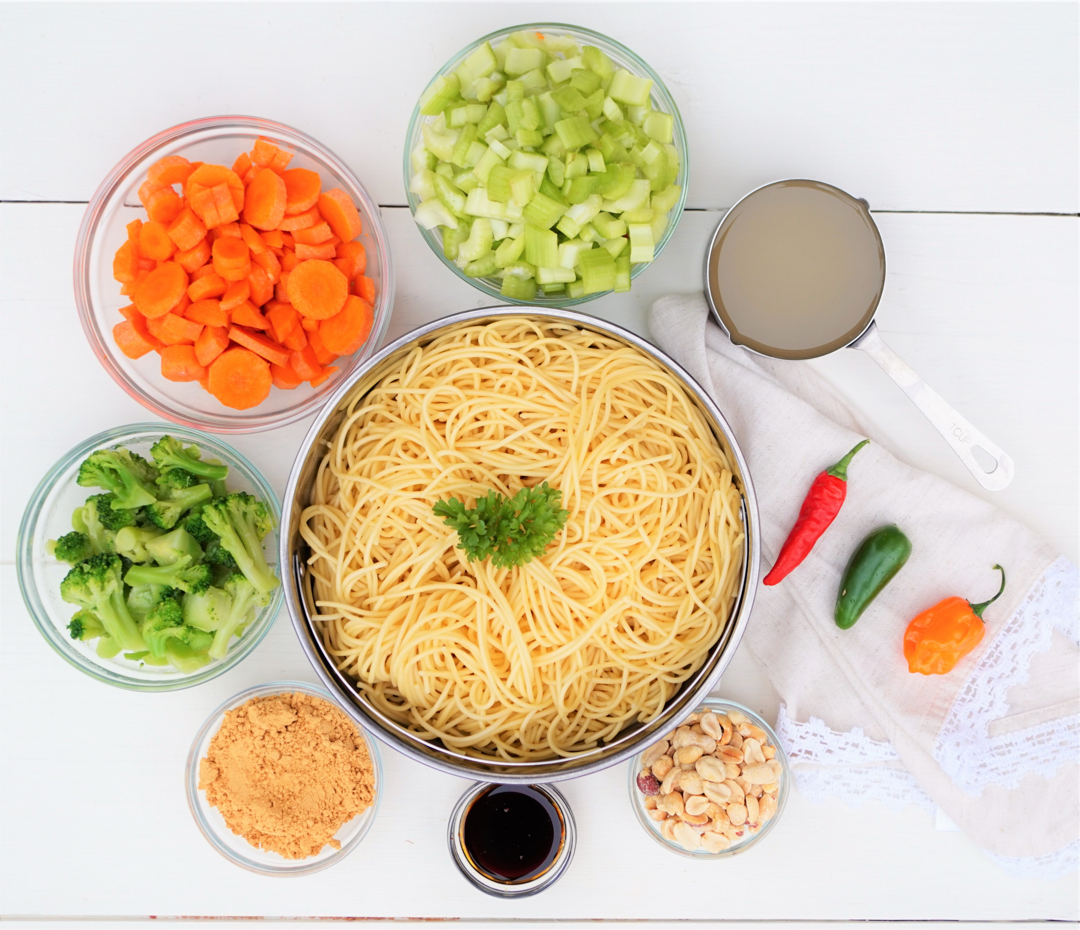 Vegetable Spaghetti Stir Fry with Spicy Peanut Sauce
