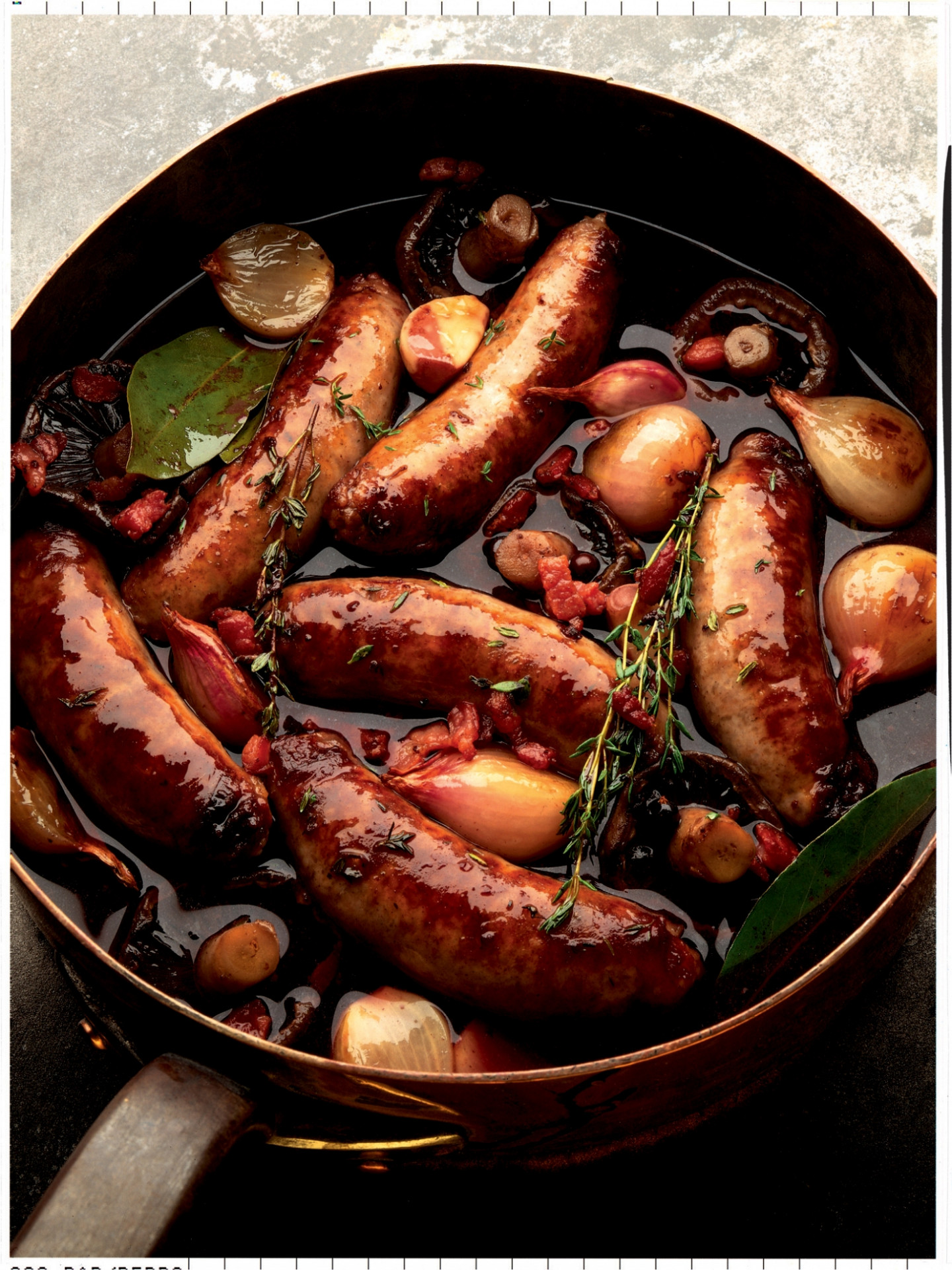 Venison Sausages Braised in Red Wine