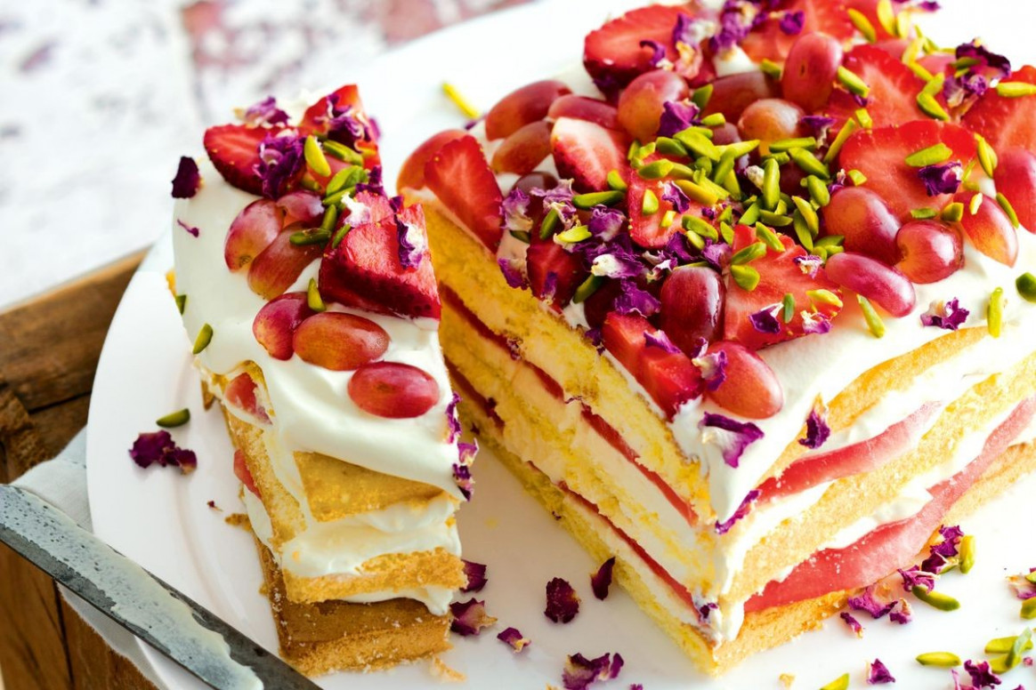 Watermelon and rose layer cake - Recipes - delicious.com