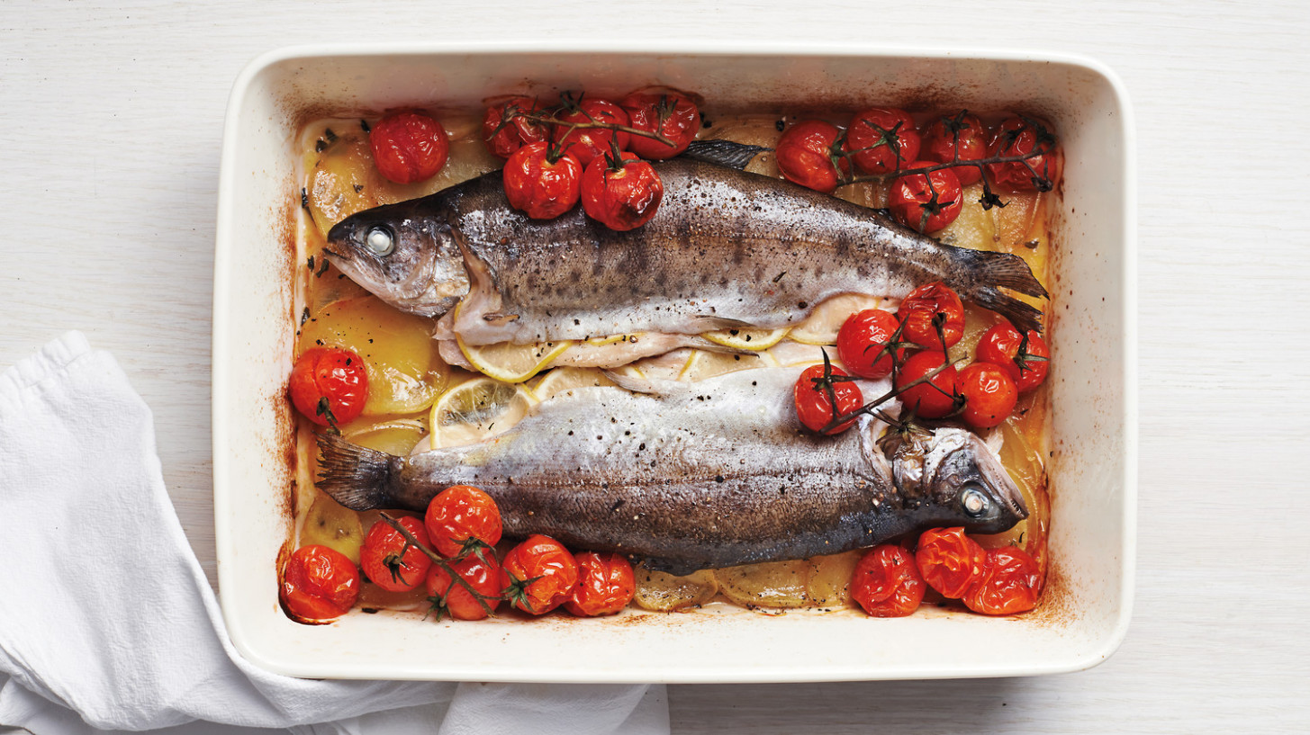 Whole Baked Trout with Cherry Tomatoes and Potatoes