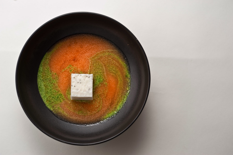 Yogurt and Poppy Seed Sorbet with Cantaloupe Soup and Mint Pesto